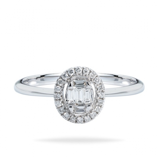 Round & Baguette Cut Diamond Ring