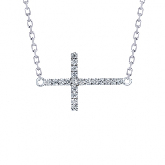 Elegant unique cross diamond necklace