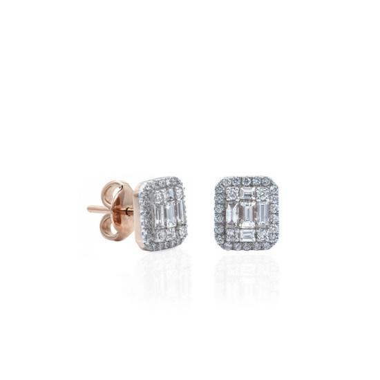 Round & Baguette Cut Diamond Earring
