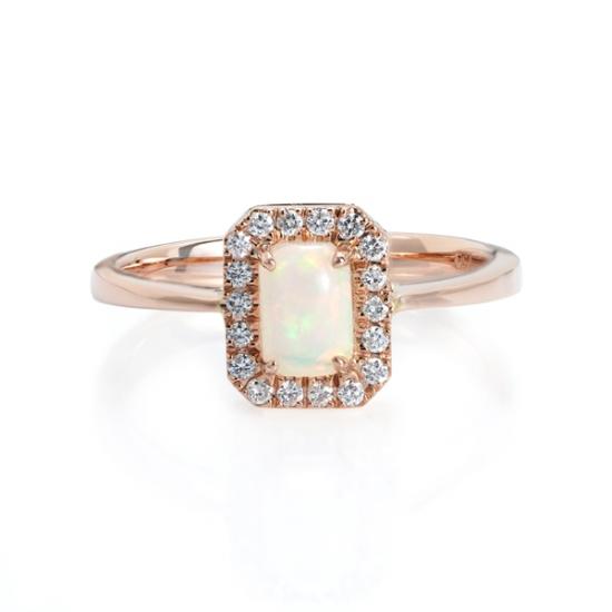 Emerald Cut Opal Halo Diamond Ring