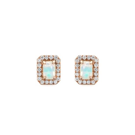 Emerald Cut Opal Halo Diamond Earring
