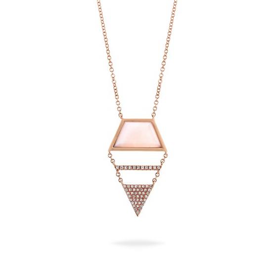 Pink opal unique diamond necklace