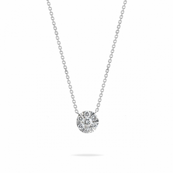 Round brilliant cluster diamond pendant necklace