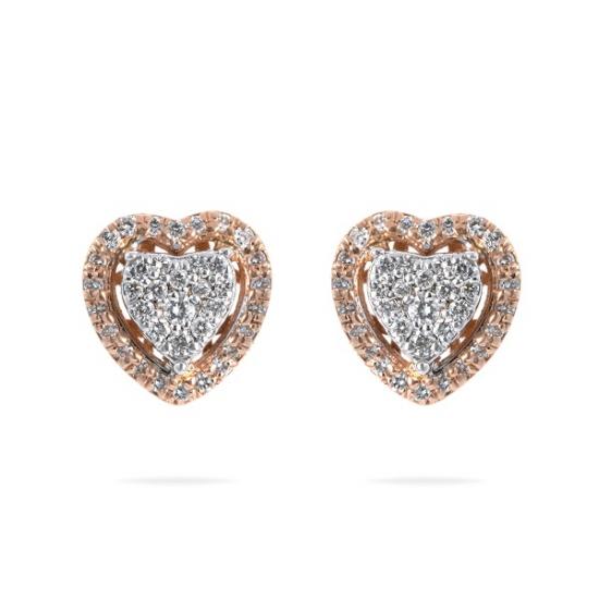 Diamond Halo Cluster Heart Shape Earring