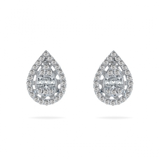 Round & Baguette Cut Diamond Earring