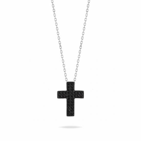 Black Diamond cluster cross necklace