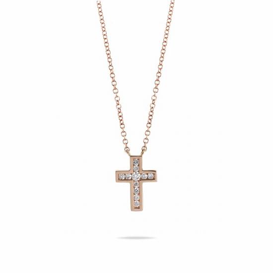 Elegant tiny cross diamond necklace
