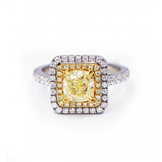 Cushion Fancy Yellow Diamond Ring
