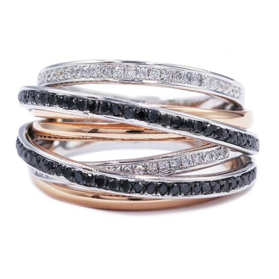Black Diamonds Criss Cross Ring