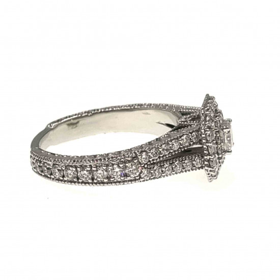 Dual halo cushion cut engagement ring -OR4873