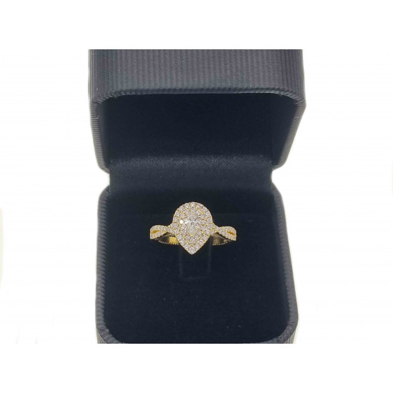 Pear cut halo design diamond engagement ring-OR4874