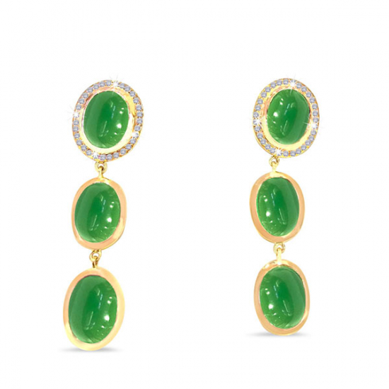 Green Onyx Diamond Earrings
