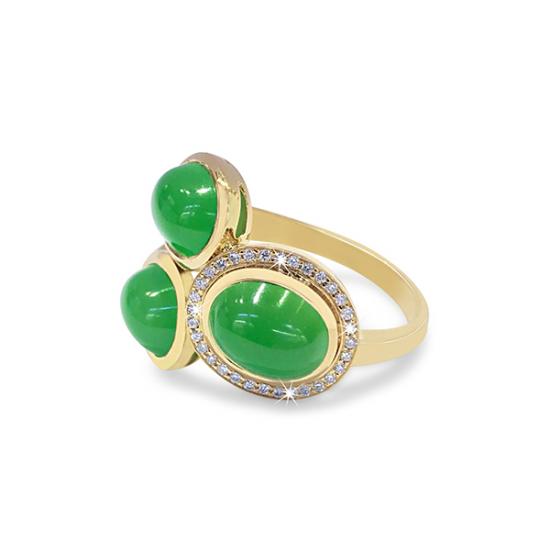 Green Onyx Diamond Ring
