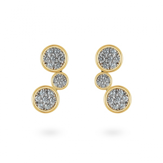 Cluster twisted dangling stud diamond earring