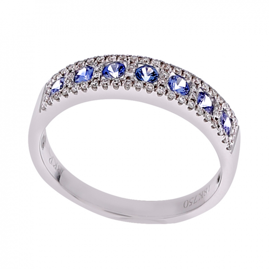 Diamond with Sapphire Ring