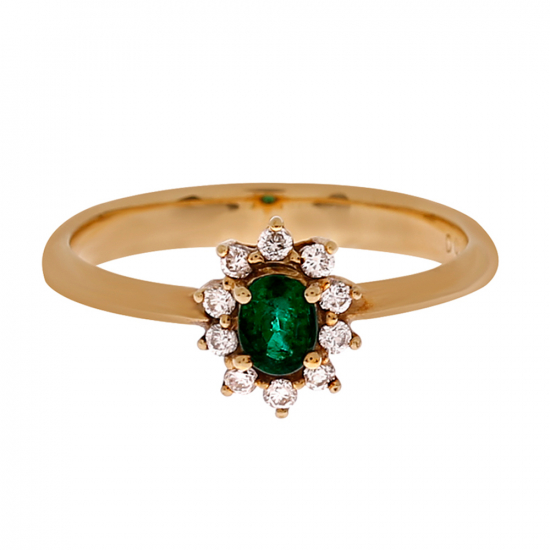 Diamond with Emerald Ring