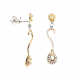 Tri Gold & Diamond Drop Earring