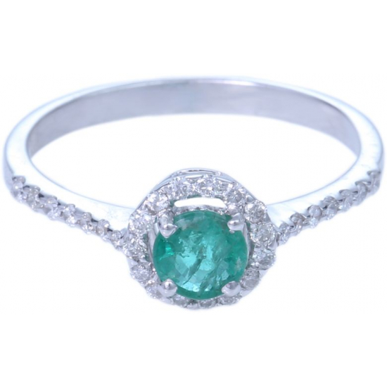 Emerald Hallo Diamond Ring