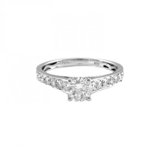 Side Diamonds Engagement Ring