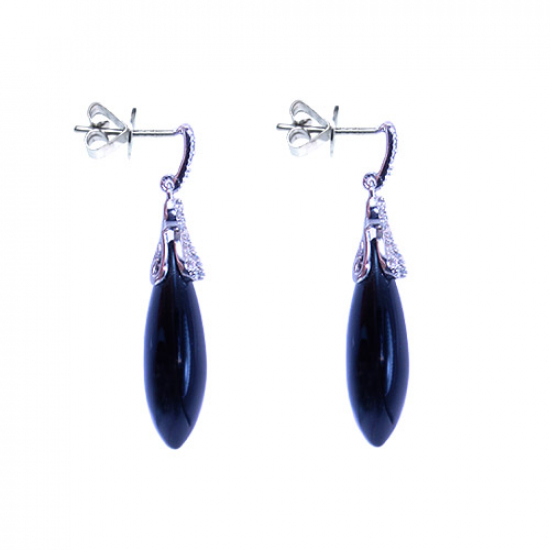 Black Agate & Diamond Drop Earrings