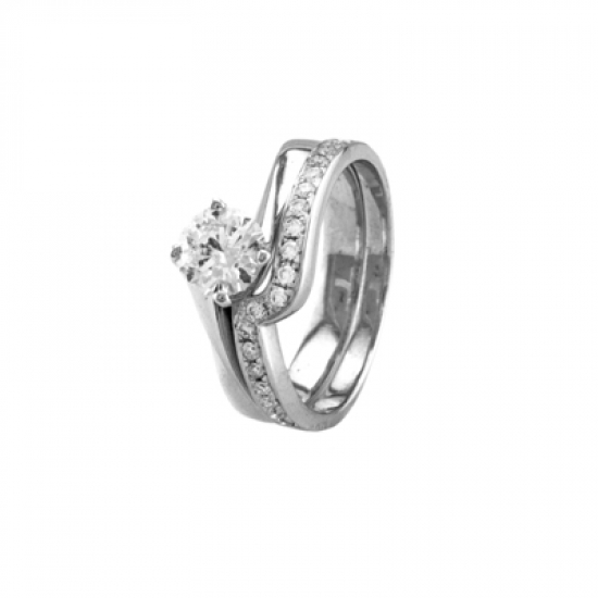 Twisted Height Solitaire Diamond Engagement Ring