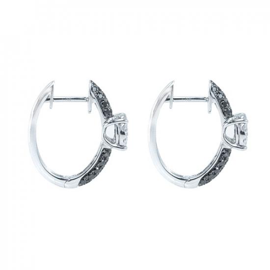 Black & White Diamond Hoop Earring
