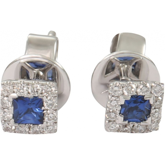Blue Princess cut studs