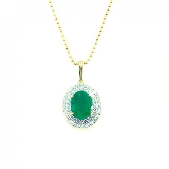 Oval Emerald Cluster Pendant
