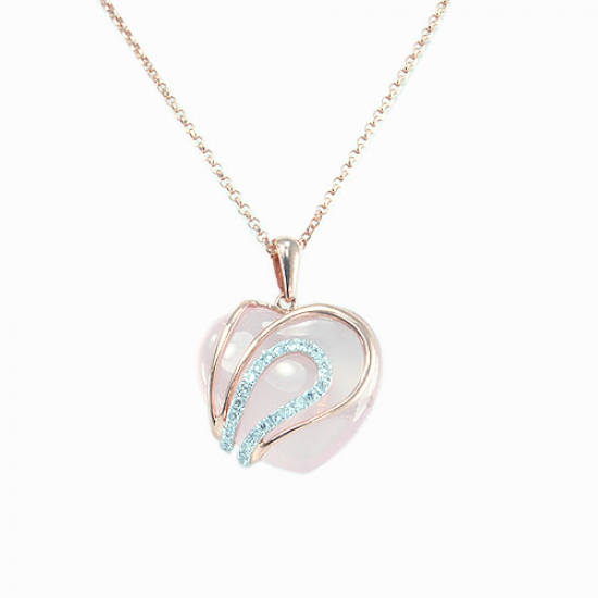 Heart Shape Rose Quartz Pendant