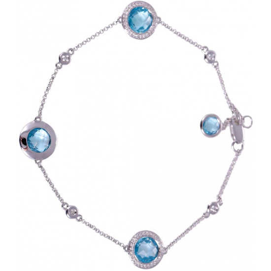 Blue Topaz Diamond Bracelet