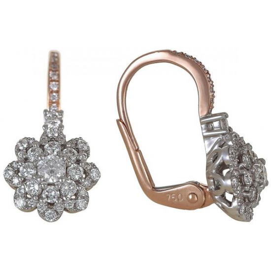 18K Rose Gold 0.59ct Round Diamond Latch Earrings