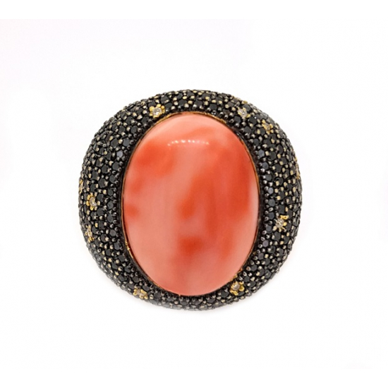 Coral Black and White Diamond Ring