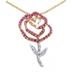 Ruby Rose Pendant with Chain
