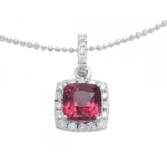 Diamond with Pink Garnet Pendant with Chain