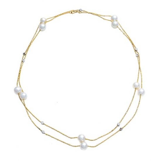 Diamond with Pearl Necklace,65 cm