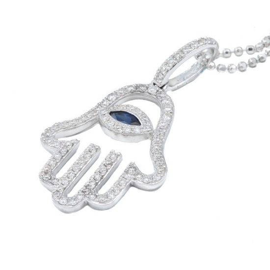 Blue Sapphire Eye & Hand Pendant with Chain