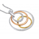 Diamond with 3 Colors Gold Pendant with Chain
