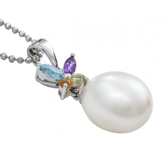 Multicolored Stone & Pearl with Chain