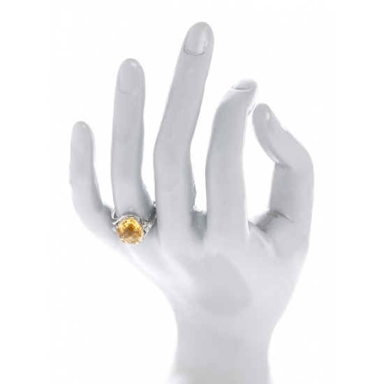 Diamond & Yellow Topaz Ring