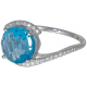 Round Blue Topaz Diamond Ring