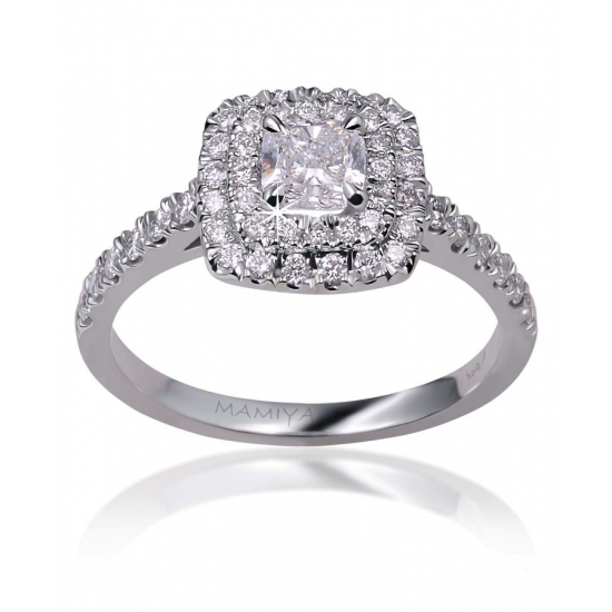 Double halo cushion diamond ring