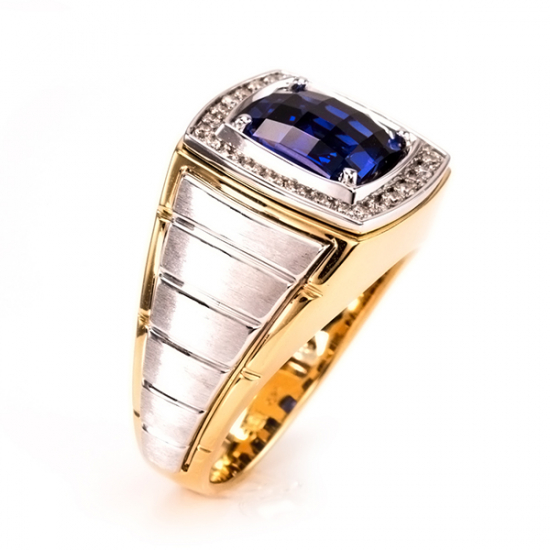 Two Tone Men's Sapphire Ring - B16941
