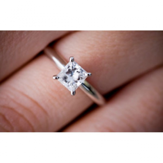 Four Prongs Princess Cut Engagement Ring