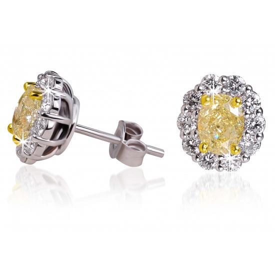 Oval Fancy Yellow Diamond Earrings - B17466