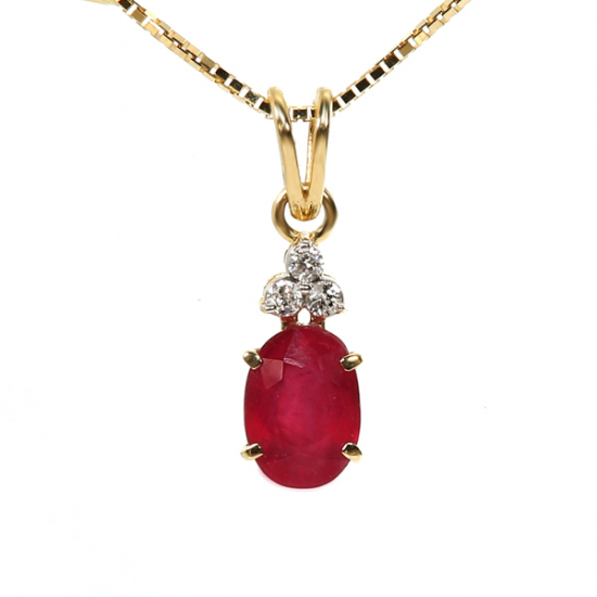 Ruby with diamond necklace