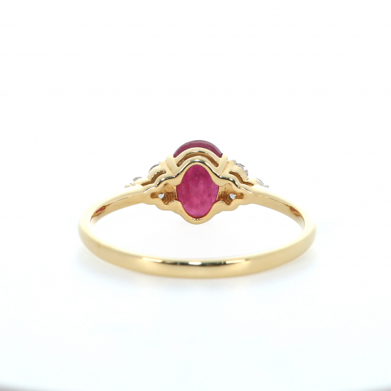 Oval  Shape Ruby and Diamond Ring