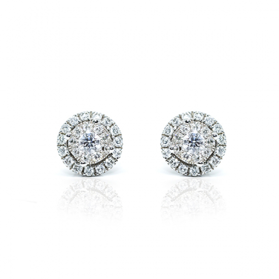 Round Cut Double Pave Studs Diamond Earring
