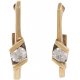Yellow Gold Genuine Diamond Hoop Earrings - B07360