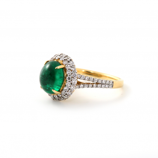 Emerald Diamond Domed Ring