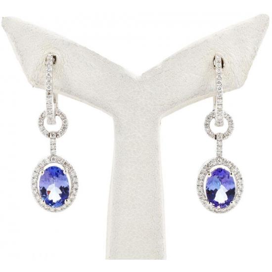 Tanzanite and Diamond Halo Earrings - B13719